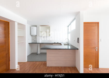 architecture, modern apartment, empty bedroom a single bed and