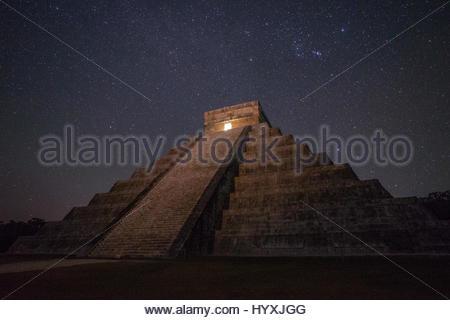 The Great Pyramid, El Castillo, in Chichen Itza. - Stock Photo