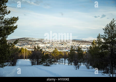 A beautiful morning panorama of a small Norwegian town Roros in snoy winter day - Stock Photo