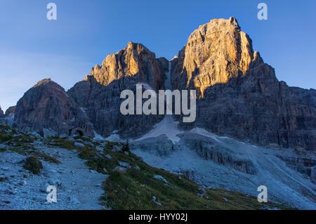via ferrata, sunny morning in the mountains. Dolomites, green valley - Stock Photo