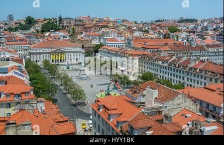 Panoramic view from Elevador de Santa Justa, Lisbon, Portugal, June-28-2016 - Stock Photo