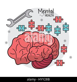 mental health brain puzzle innovation - Stock Photo