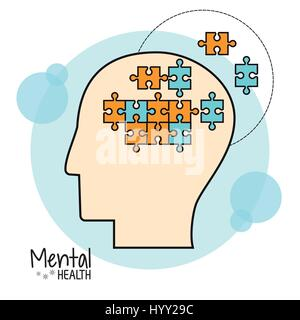 mental health brain puzzle image - Stock Photo
