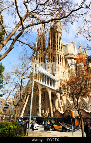 exterior views of  Gaudi's La Sagrada Familia basillica, Barcelona, Catalunya, Spain - Stock Photo