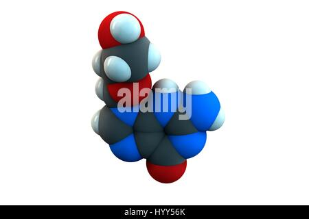 Aciclovir antiviral drug molecule. Used in treatment of herpes simplex virus (cold sores), herpes zoster (shingles) - Stock Photo