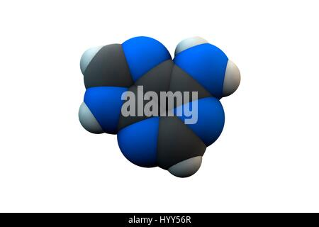 Adenine purine nucleobase molecule. Chemical formula is C5H5N5. Atoms are represented as spheres: carbon (grey), - Stock Photo