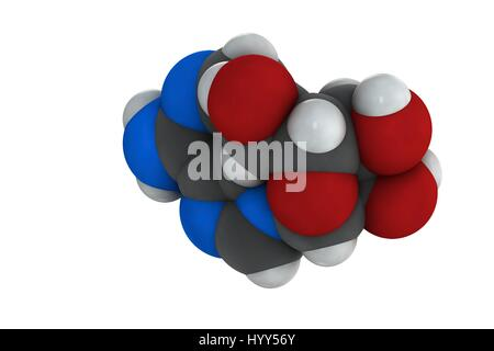 Adenosine (Ado) purine nucleoside molecule. Important component of ATP, ADP, cAMP and RNA. Also used as drug. Chemical - Stock Photo