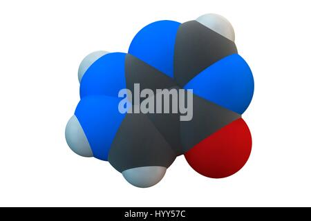 Allopurinol gout drug molecule. Chemical formula is C5H4N4O. Atoms are represented as spheres: carbon (grey), hydrogen - Stock Photo
