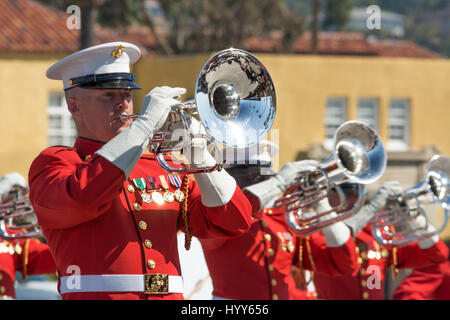 Battle Color Detachment, Marine Barracks Washington, D.C., performing at the Marine Corps Recruit Depot in San Diego, - Stock Photo