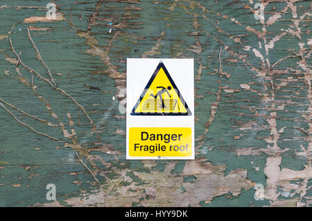 Danger Fragile Roof Sign Yellow Warning White Black Health
