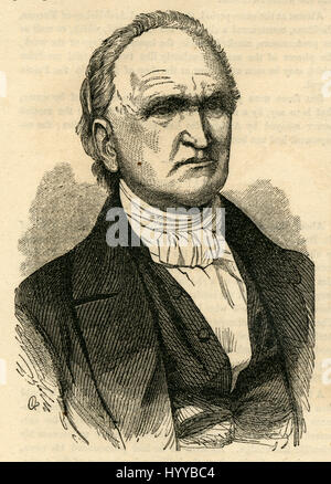Antique 1854 engraving, Portrait of Reverend Dr. Cox. Samuel Hanson Cox (1793-1880) was an American Presbyterian - Stock Photo