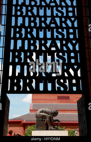 The statue of Isaac Newton by Eduardo Paolozzi in the concourse of the British Library, London - Stock Photo