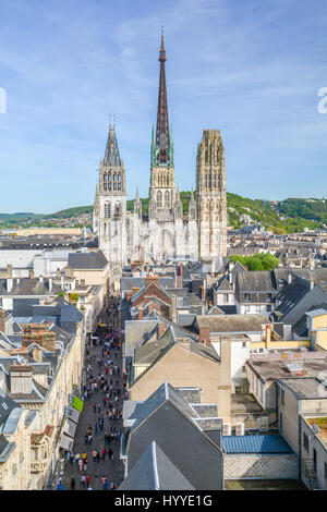 Panoramic view of Rouen from Gros-Horloge (Clock Tower) top, Normandy, May-06-2016 - Stock Photo