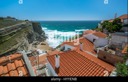 Azenhas do Mar in a summer afternoon, Portugal - Stock Photo