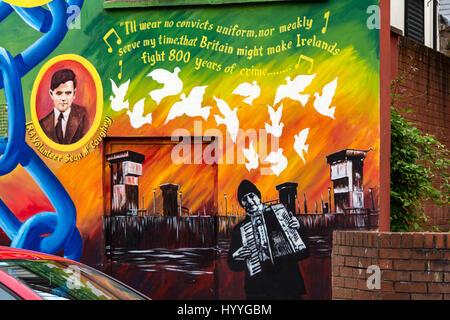 Detail from a wall mural on the side of the Sinn Féin office, Falls Road, Belfast, County Antrim, Northern Ireland, - Stock Photo