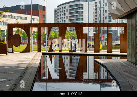 The Titanic Belfast sign with reflection, Belfast, County Antrim, Northern Ireland, UK - Stock Photo