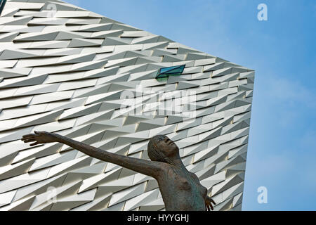 Titanica, a sculpture by Rowan Gillespie, outside of the Titanic Belfast building, Belfast, County Antrim, Northern - Stock Photo