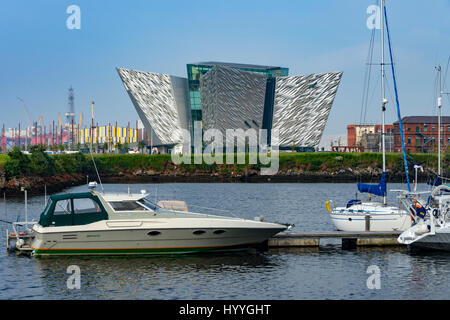 The Titanic Belfast building (Eric Kuhne and Associates 2012), from the Harbour Marina, Belfast, County Antrim, - Stock Photo