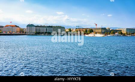Ferry on Geneva Lake near Promenade du Lac in summer, Geneva, Switzerland. - Stock Photo