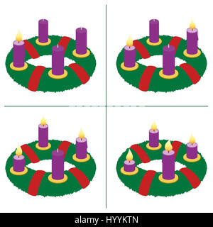 Advent wreath on first, second, third, fourth Sunday of Advent - with one, two, three and four lighted candles in - Stock Photo