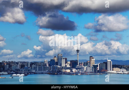Auckland is largest city of New Zealand, view from Mount Victoria, Devonport - Stock Photo