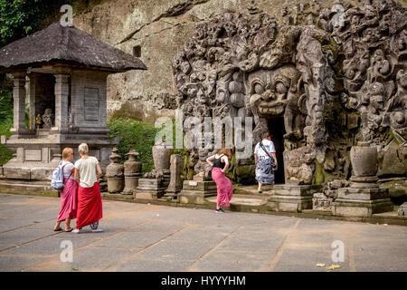 Elephant cave, Goa Gajah, Ubud Bali, Indonesia, UNESCO World Heritage Centre - Stock Photo