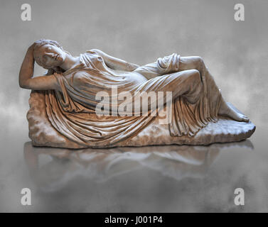 Ariadne sleeping, 2nd cent AD Marble Roman statue from Italy.  inv MR 311or Ma 340, Louvre Museum Paris - Stock Photo