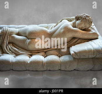 Sleeping Hermaphroditus, The Borghese Hermaphrodite.  A Life size ancient 2nd century AD Roman statue sculpted in - Stock Photo