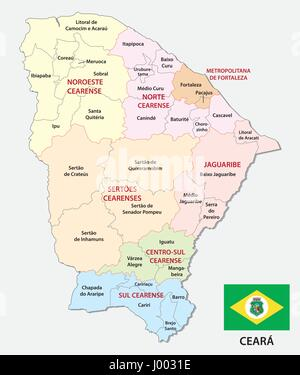 ceara administrative and political map with flag - Stock Photo
