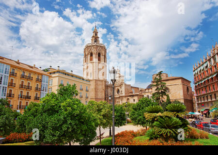 Metropolitan Cathedral and Micalet tower at Plaza de la Reina in the old city center of Valencia, Spain - Stock Photo