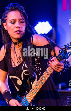 Frankfurt/Main, Germany. 5th April, 2017. Jen Majura, guitarist of American Gothic Metal Band Evanescence plays - Stock Photo