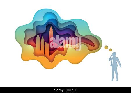 Business concept illustration. Businessman is thinking about city and real estate investment. Paper art style vector - Stock Photo