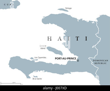 Haiti political map with capital Port-au-Prince. Caribbean republic and country on the Hispaniola island in the - Stock Photo