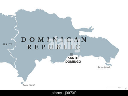 Dominican Republic political map with capital Santo Domingo. Caribbean country on the Hispaniola island in the Greater - Stock Photo
