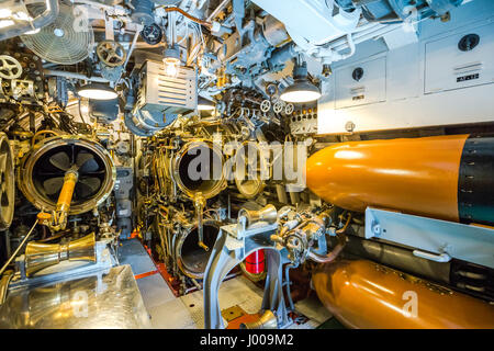 Submarine torpedoes room - Stock Photo