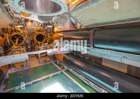 Submarine torpedo room - Stock Photo