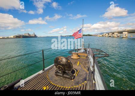 USS Bowfin Submarine flag - Stock Photo