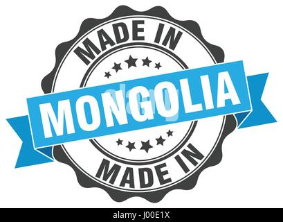 made in Mongolia round seal - Stock Photo