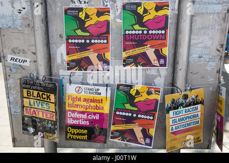 London, UK. 8th Apr, 2017. Posters used by campaigners from and supporters of the Save Latin Village campaign protesting - Stock Photo