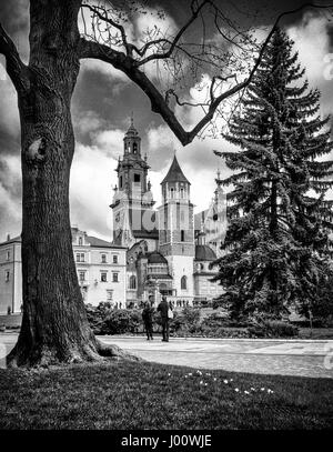 Krakow, Poland. 08th Apr, 2017. The Wawel Cathedral in Krakow, Poland on 08.04.2017 In the cathedral there is Thumb, - Stock Photo