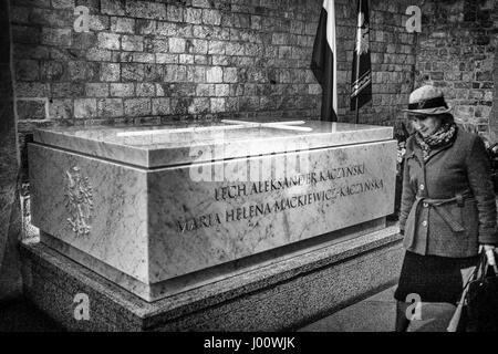 Krakow, Poland. 08th Apr, 2017. Thumb, sarcophagus, of Lech Kaczynski, Polish President in the antechamber of the - Stock Photo