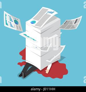 Flat 3d isometric overworked businessman under the stack of paper, hard working concept - Stock Photo