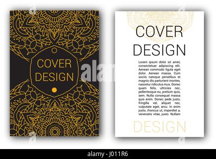Gold Ramadan brochure pages ornament vector illustration. traditional Islamic, Arabic, Indian elements. decorative - Stock Photo