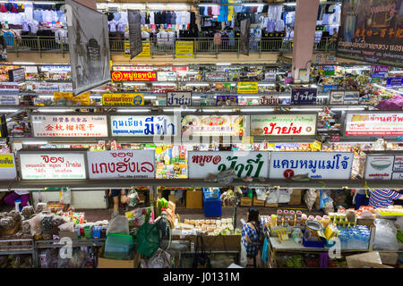 Chiang Mai, Thailand - August 27, 2016: High angle view of the Warorot market stalls on August 27, 2016 in Chiang - Stock Photo