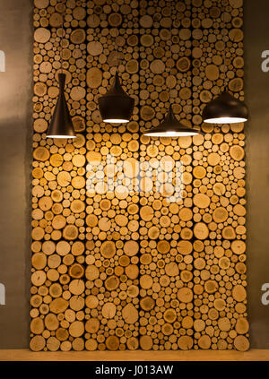 Cut wooden rings, decoration wall panels closeup. Wood slice ...