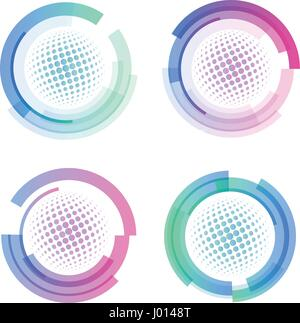 Isolated abstract colorful round shape logo set, circular frames logotypes collection, golf balls icons on white - Stock Photo