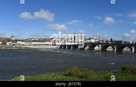 Cathedrale Saint-Louis, Pont Jacques Gabriel bridge, Blois, Loire river, Loire valley, Loir-et-Cher, Centre-Val - Stock Photo