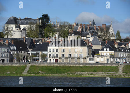 Blois castle, right bank of Loire river, Loire valley, Loir-et-Cher, Centre-Val de Loire, France, Europe, UNESCO - Stock Photo