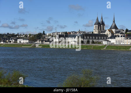 Blois, Saint-Nicolas church and Abbaye Saint-Laumer de Blois, Loire river, Loire valley, Loir-et-Cher, Centre-Val - Stock Photo