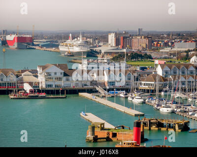 SOUTHAMPTON, UK - 27 MARCH 2017: Southampton Docks, Marina, and Boats in Working Harbour, England, United Kingdom - Stock Photo